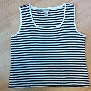 Chico's| Black & White Striped Cotton Tank XL